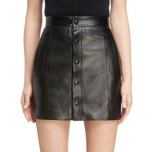 SAINT LAURENT Button Front Leather Mini Skirt